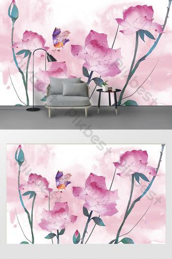 الحد الأدنى الحديثة الجديدة مرسومة باليد زهرة روز حائط الخلفية جدارية الديكور والنموذج قالب PSD