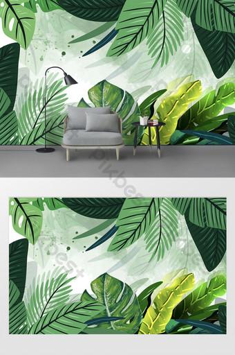 الحد الأدنى الحديثة الجديدة مرسومة باليد زهرة نبات الورقة الخضراء خلفية الجدار جدارية الديكور والنموذج قالب PSD