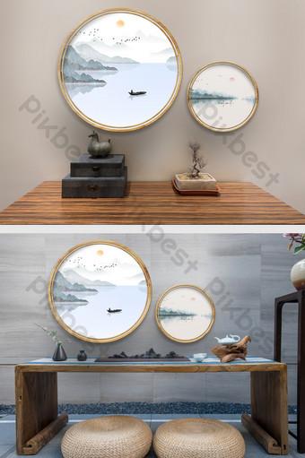 中國木紋圓形裝飾畫場景紋理樣機 裝飾·模型 模板 PSD