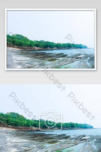 Peculiar landform Dongpingzhou Island walking photography map Photo Template JPG