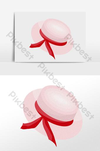 ومن ناحية رسم شاطئ الصيف السفر الوردي قبعة كبيرة الحواف التوضيح صور PNG قالب PSD