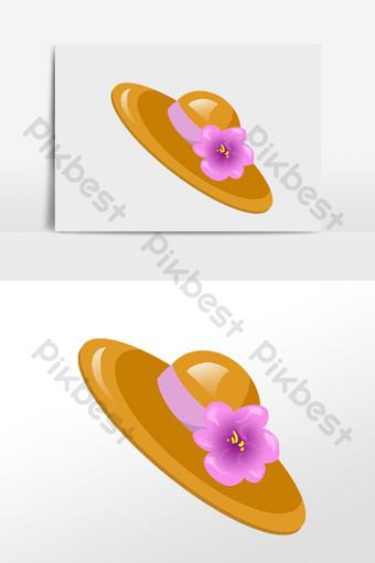 مرسومة باليد الصيف الشاطئ السفر قبعة القش التوضيح الحواف كبيرة صور PNG قالب PSD
