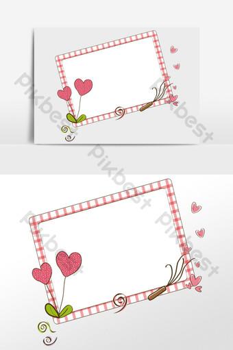 dibujado a mano dibujos animados rojo amor corazón borde decorativo ilustración Elementos graficos Modelo PSD