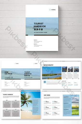 Conception de paquet de brochure de voyage de style frais et simple bleu Modèle PSD