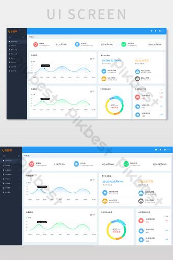 Interface du tableau de bord de la plate-forme de données financières bleu UI Modèle PSD
