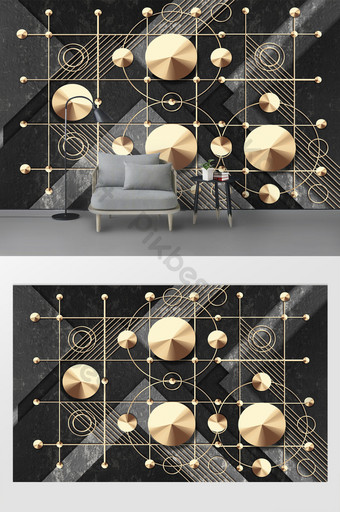 شخصية حديثة نمط الحجر الذهبي الحديد الرسم الهندسي التلفزيون خلفية الجدار الديكور والنموذج قالب PSD
