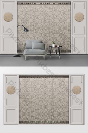 輕豪華和美麗的歐洲風格雕刻皮革軟包3d電視背景牆 裝飾·模型 模板 TIF