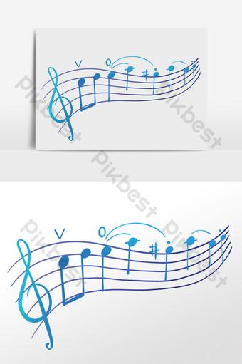 Ginuhit ng kamay ang klasikong himig na ilustrasyong tala ng musikal Imahe ng PNG Template PSD