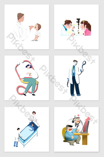 Hand drawn doctor and patient set of diagram illustration elements Illustration Template PSD