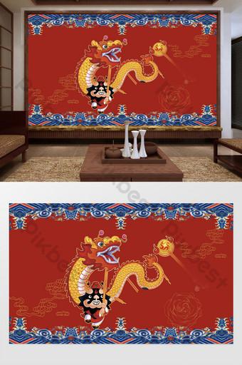 中國風民族潮傳統文化舞龍風俗背景牆 裝飾·模型 模板 PSD
