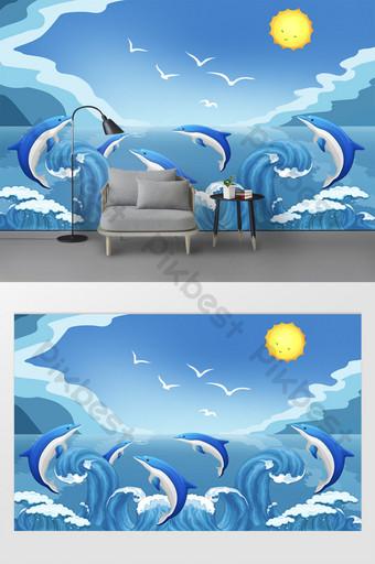 New modern cartoon blue sky sea dolphin children room background Decors & 3D Models Template PSD