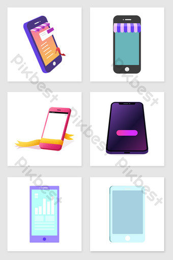 Hand drawn fresh and beautiful mobile phone set illustration elements Illustration Template PSD