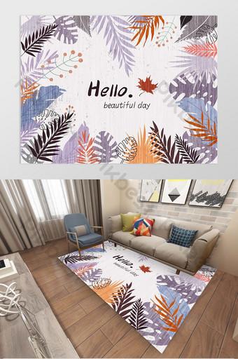 現代北歐植物家居客廳臥室地毯圖案設計 裝飾·模型 模板 PSD