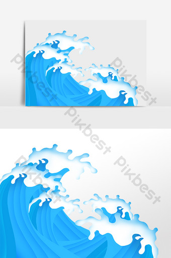 Hand drawn ocean wave spray tumbling sea water illustration PNG Images Template PSD