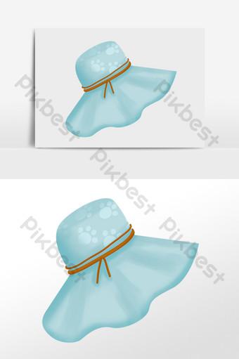 مرسومة باليد الصيف الشاطئ السفر ظلة قبعة كبيرة الحواف التوضيح صور PNG قالب PSD