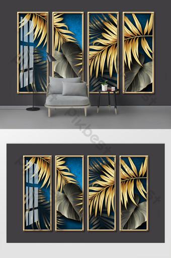 現代簡約黑金葉水晶瓷酒店客廳背景牆 裝飾·模型 模板 PSD