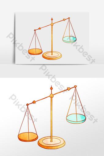 escalas dibujadas a mano justicia equilibrio igualdad ilustración Elementos graficos Modelo PSD