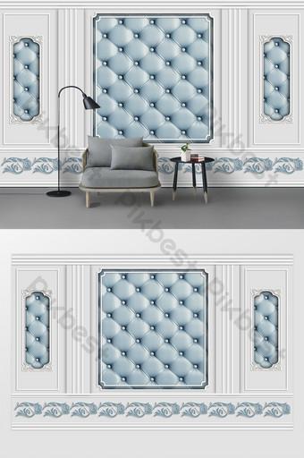 moda moderna azul pequeño fresco en relieve línea de yeso envoltura suave patrón pared de fondo Decoración y modelo Modelo PSD