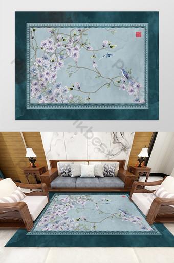 الصينية الكلاسيكية زهرة والطيور غرفة المعيشة غرفة نوم فندق السجاد نمط الديكور والنموذج قالب PSD