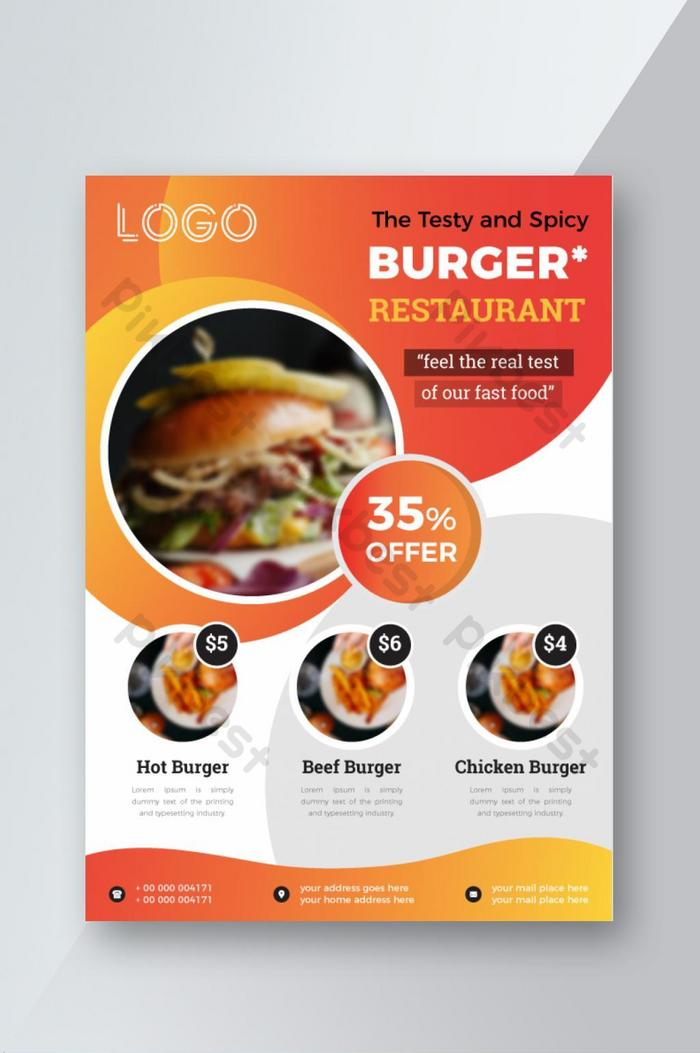 food restaurant burger fast food flyer design mit angebot