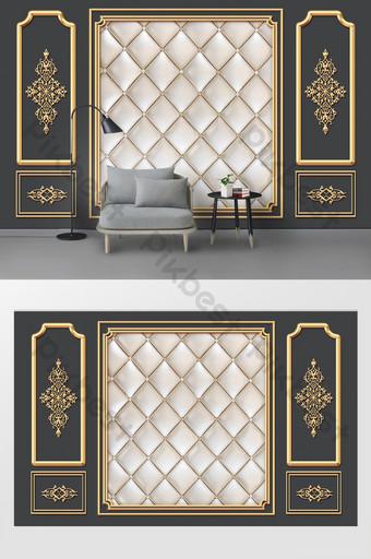 الموضة الحديثة نمط الذهبي لينة تنقش خلفية التلفزيون جدار الديكور والنموذج قالب PSD
