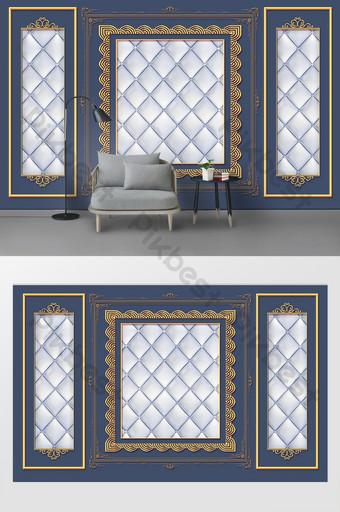 الموضة الحديثة نمط ذهبي حزمة لينة غرفة المعيشة التلفزيون خلفية الجدار الديكور والنموذج قالب PSD
