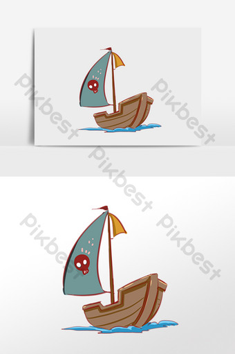 drawing sea travel tool pirate ship sailing illustration PNG Images Template PSD