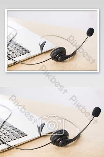 Customer service headset photography picture Photo Template JPG