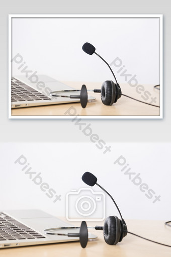 Business office customer service headset picture Photo Template JPG