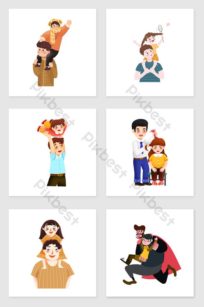 Kumpulan Elemen Ilustrasi Ayah Dan Anak Perempuan Yang Dilukis Dengan Tangan Ilustrasi Psd Percuma Muat Turun Pikbest