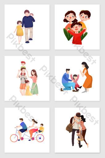 drawing family together set illustration elements Illustration Template PSD