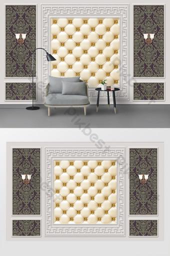 أزياء الشمال لينة معبأة الجص كابل غرفة المعيشة التلفزيون خلفية الجدار الديكور والنموذج قالب PSD