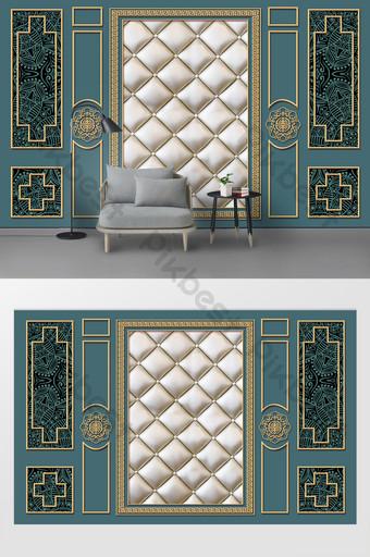 北歐金線軟包時尚客廳電視背景牆 裝飾·模型 模板 PSD