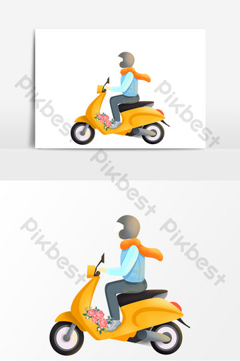 Yellow electric car sending flower boy element PNG Images Template PSD