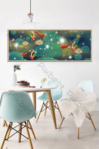 Tableau décoratif Lotus neuf poissons peint à la main Décoration et modèle Modèle PSD