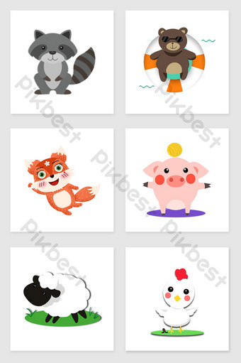 drawing cute little animals set of illustration elements Illustration Template PSD