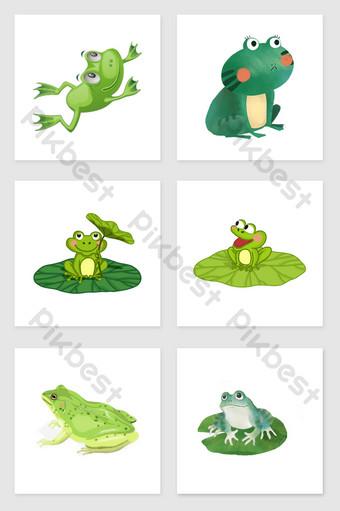 drawing frog set illustration elements Illustration Template PSD
