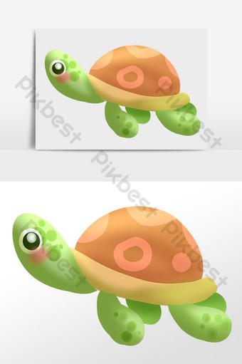 dibujado a mano criatura de agua marina tortuga marina ilustración de tortuga Elementos graficos Modelo PSD