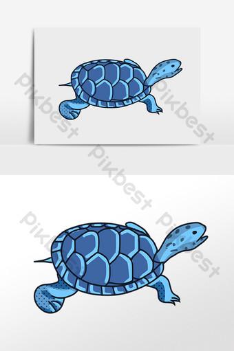 dibujado a mano animal marino criatura de agua ilustración de tortuga marina azul Elementos graficos Modelo PSD