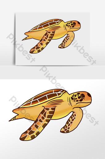 dibujado a mano animal marino criatura de agua ilustración de tortuga marina amarilla Elementos graficos Modelo PSD
