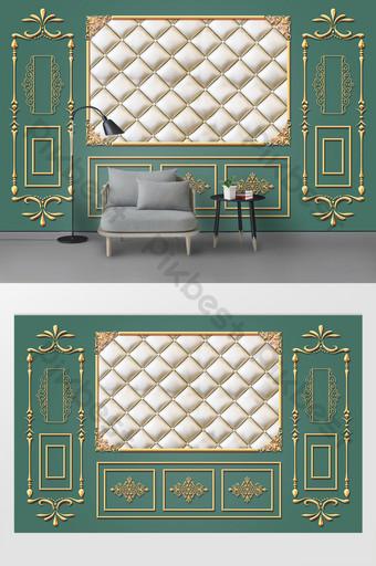 النمط الأوروبي النمط الذهبي أزياء حزمة لينة غرفة المعيشة التلفزيون خلفية الجدار الديكور والنموذج قالب PSD