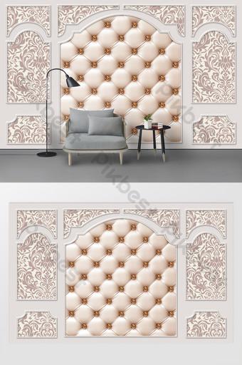 الموضة الحديثة الجص نمط حزمة لينة غرفة المعيشة التلفزيون خلفية الجدار الديكور والنموذج قالب PSD