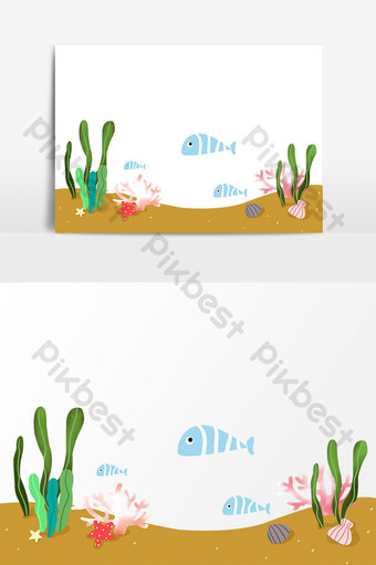 Cartoon world ocean day submarine seaweed small fish hand drawn elements PNG Images Template PSD