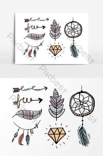 elemento de diseño de encaje de patrón europeo flecha dibujada a mano de diamante Elementos graficos Modelo AI