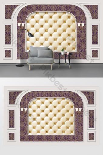 現代時尚北歐石膏線皮革軟包電視背景牆 裝飾·模型 模板 PSD