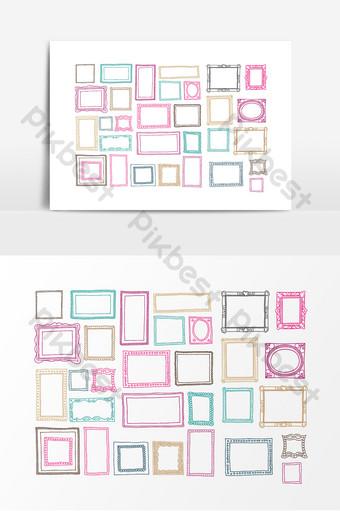 لون الحدود إطار الصورة عنصر التصميم صور PNG قالب AI