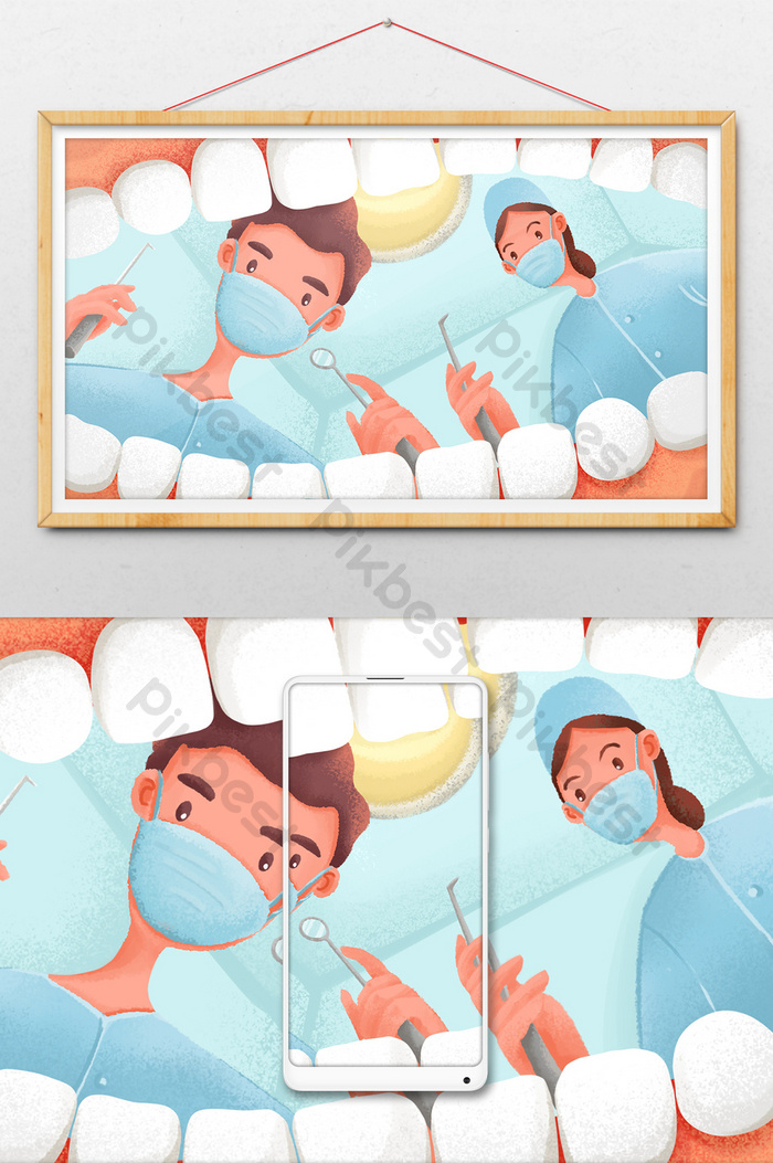 fresh texture medical health oral clinic dentist dental web illustration