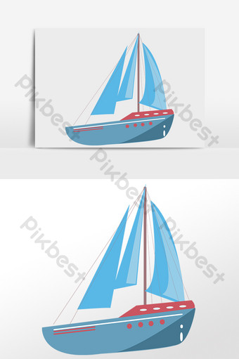 Hand drawn sea transportation tool blue sailboat illustration PNG Images Template PSD