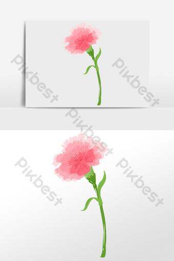 手繪母親節花朵康乃馨插畫 元素 模板 PSD