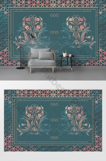 北歐抽象花卉圖案客廳臥室背景牆 裝飾·模型 模板 PSD